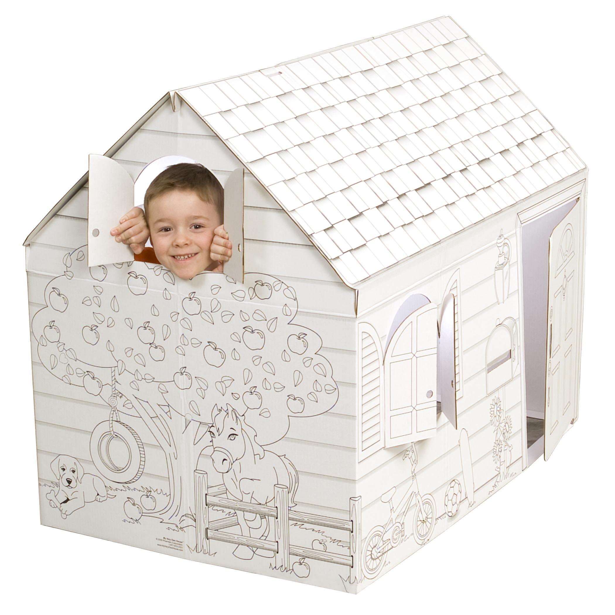 Hide and Seek cardboard coloring playhouse   Cardboard-house