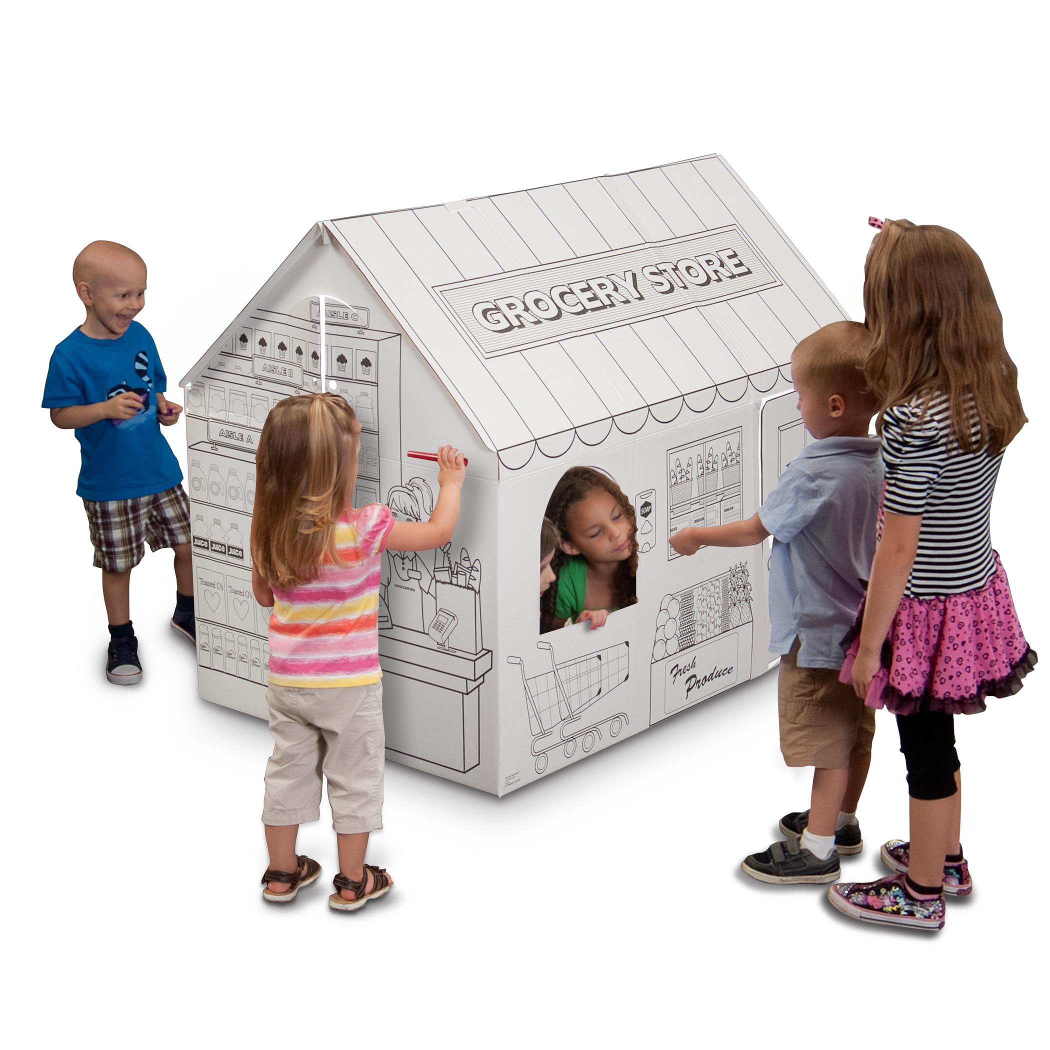 Cardboard coloring Grocery playhouse | Cardboard-house