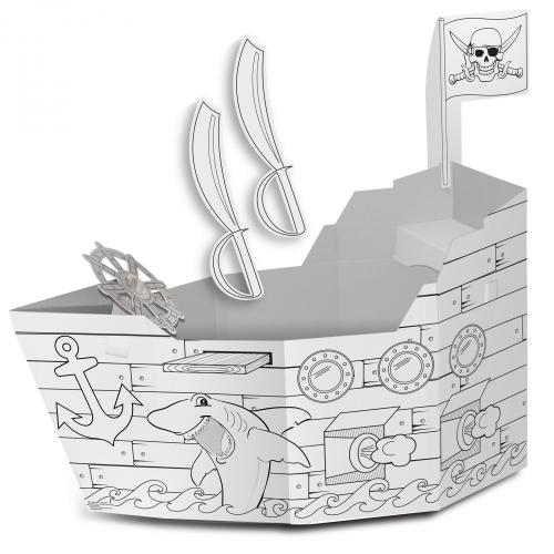 cardboard coloring Pirate ship playhouse | Cardboard-pirate-ship