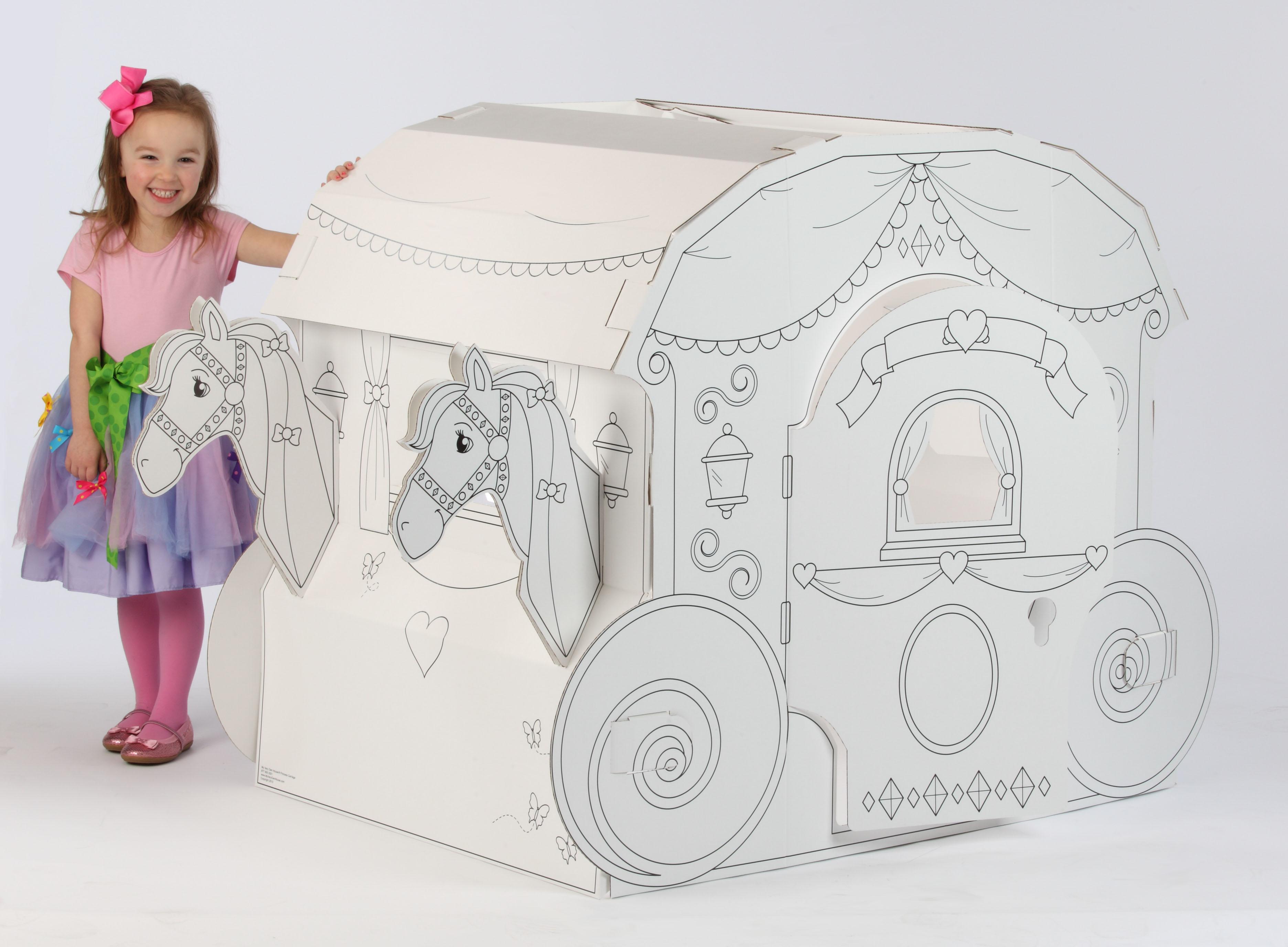 Coloring Playhouse Princess, Carriage | Cardboard-Carriage